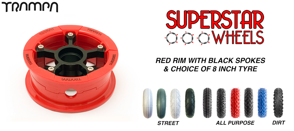 Superstar 8 inch wheel - RED Gloss rim BLACK spoke CUSTOM Tyre 8 INCH WHEEL