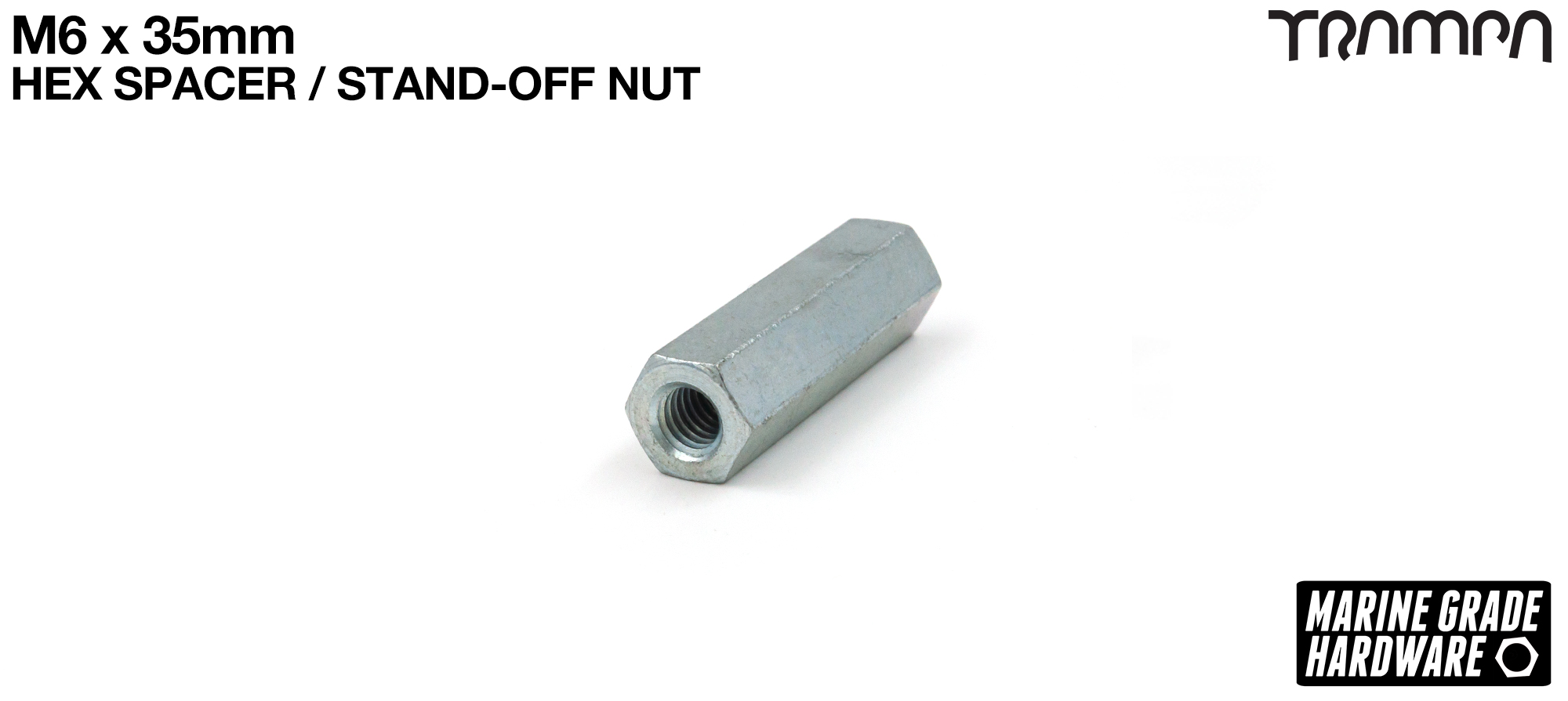 M6 x 35mm Zinc Plated Threaded Hex Spacer - Connects the Primo 3 Spoke 9 Inch Wheel to the 66tooth Slave Wheel