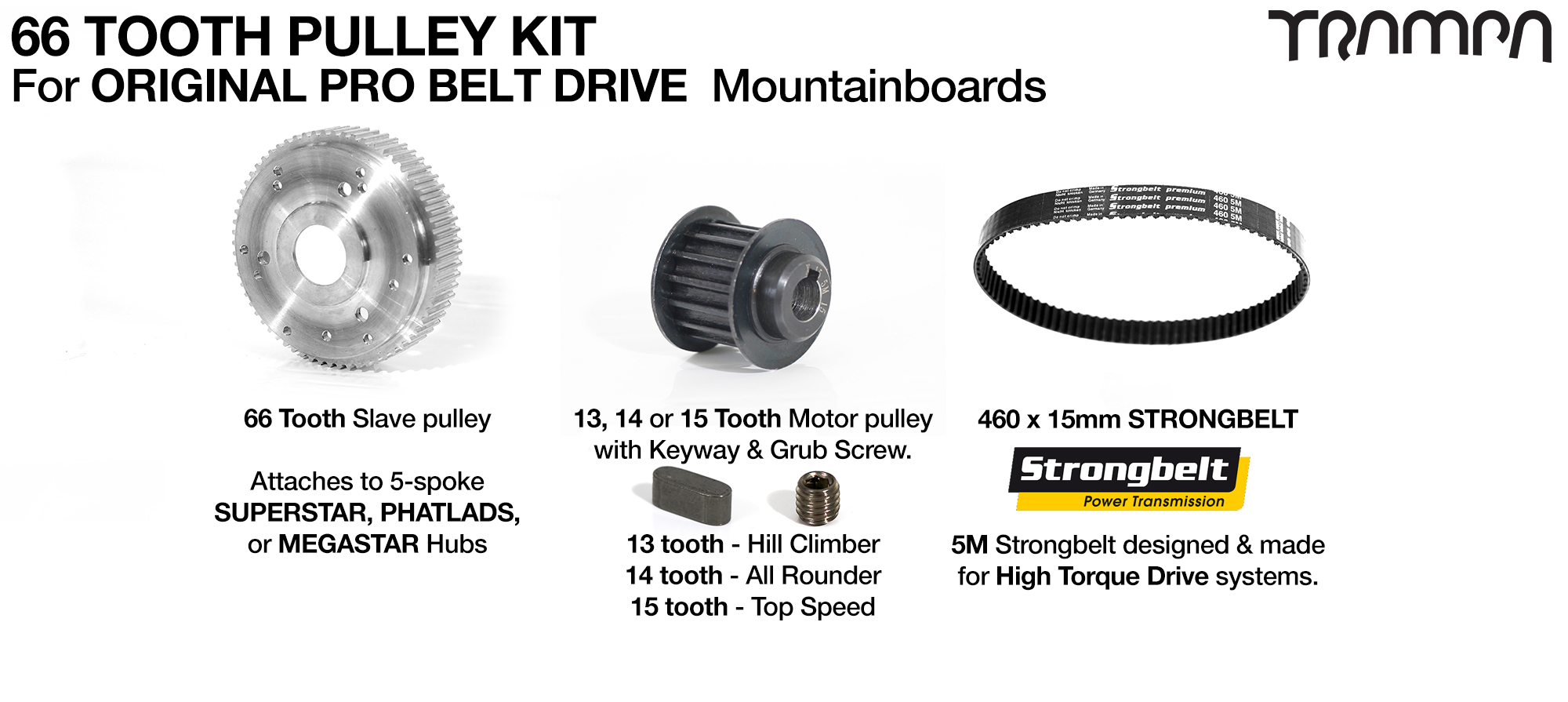 Complete MOUNTAINBOARD Pulley Kit with 15mm STRONGBELT for SUPERSTAR wheels