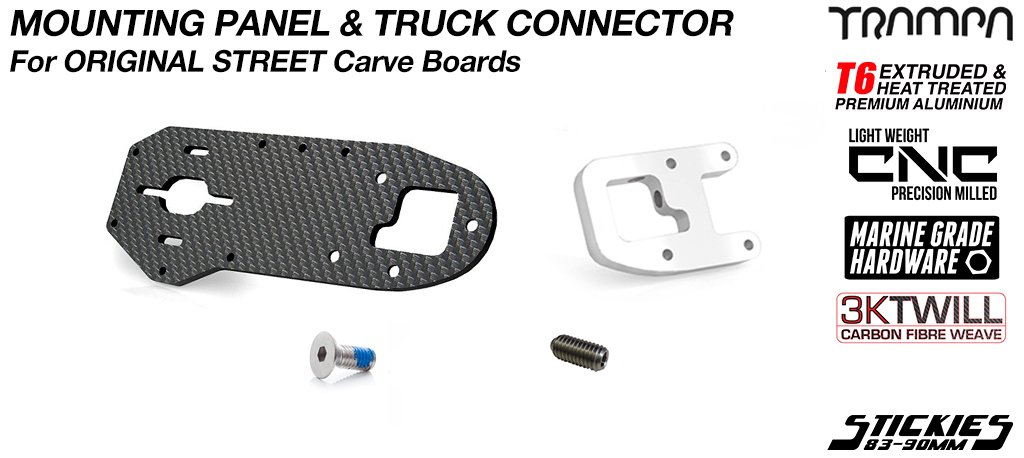 Original STREET Carver Carbon Fibre Motor Mount PANEL with T6 Motor Mount CLAMP & GRUB Screws - SINGLE