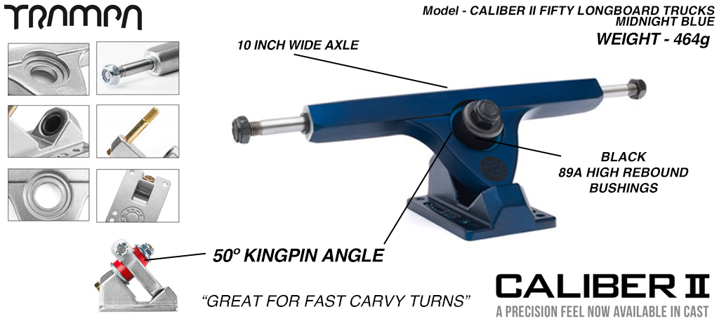CALIBER II Longboard Trucks - 10 Inch Wide with a 50º Baseplate mount for fast Carvy turns - Midnight Satin BLUE