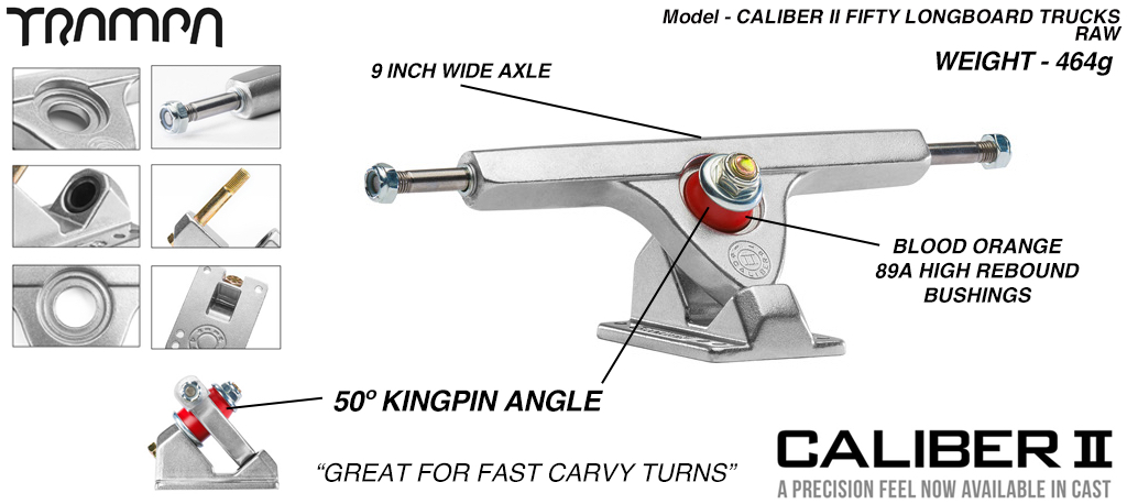 CALIBER II Longboard Trucks - 9 Inch Wide with a 50º Baseplate mount for fast Carvy turns - RAW SILVER
