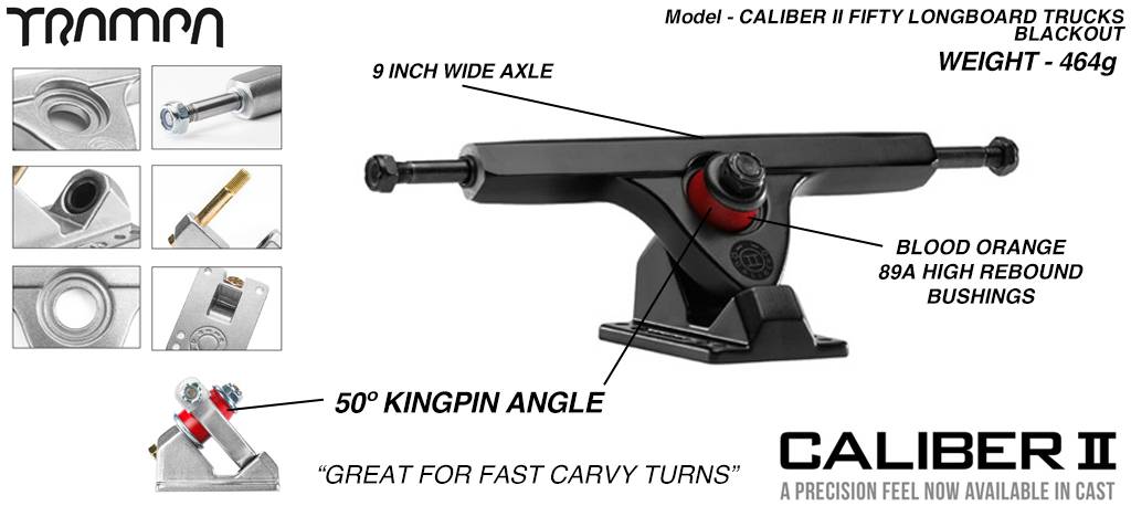 CALIBER II Longboard Trucks - 9 Inch Wide with a 50º Baseplate mount for fast Carvy turns - BLACKOUT