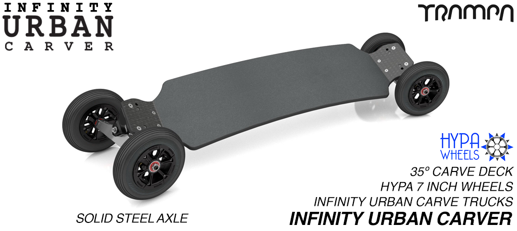INFINITY URBAN Carveboard with 9.525mm SOLID Steel axles on 6 or 7 Inch Inch pneumatic HYPA Wheels