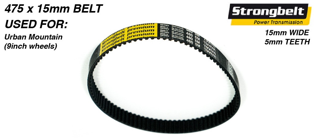 475 long x 15mm wide High Torque Drive (HTD) 5M (5mm Tooth Space) High Power (HP)  STRONGBELT for TRAMPA Mountainboards