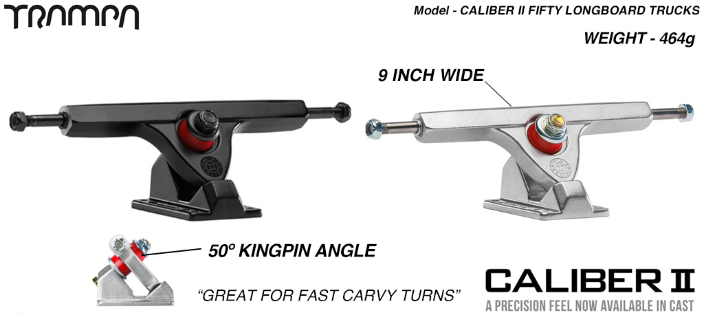 Caliber II 50º Baseplate 9 Inch wide shortboard Truck - For fast Carvy turns