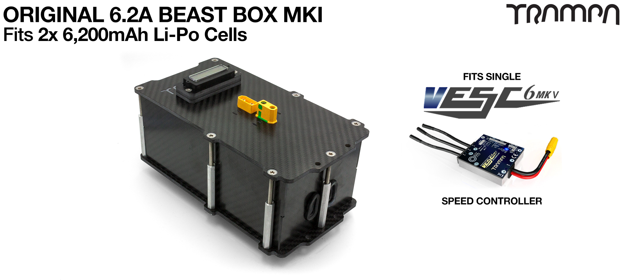 BEAST Box to fit 2x Zippy Compact 6200 mAh cells with Internal VESC Housing - AWESOME