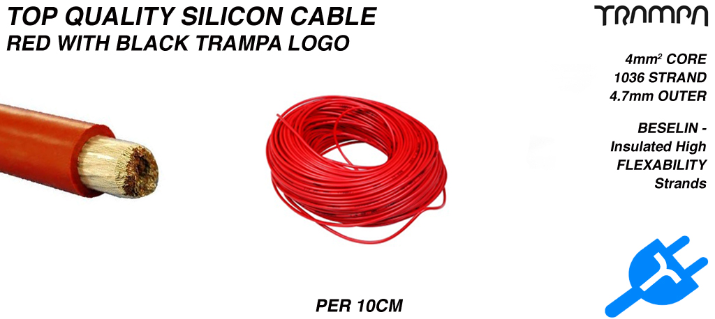 RED Silicon Cable with BLACK TRAMPA logo