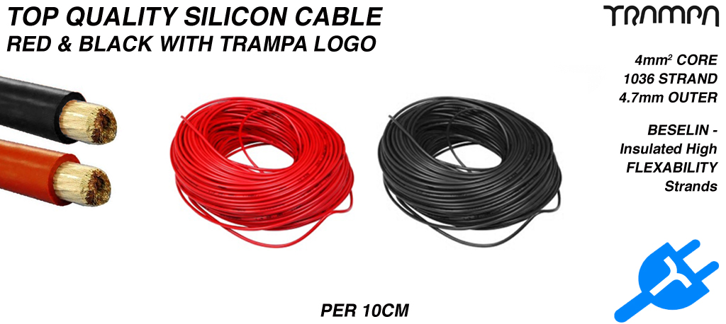 Red & Black Silicon Cable - per 10cm