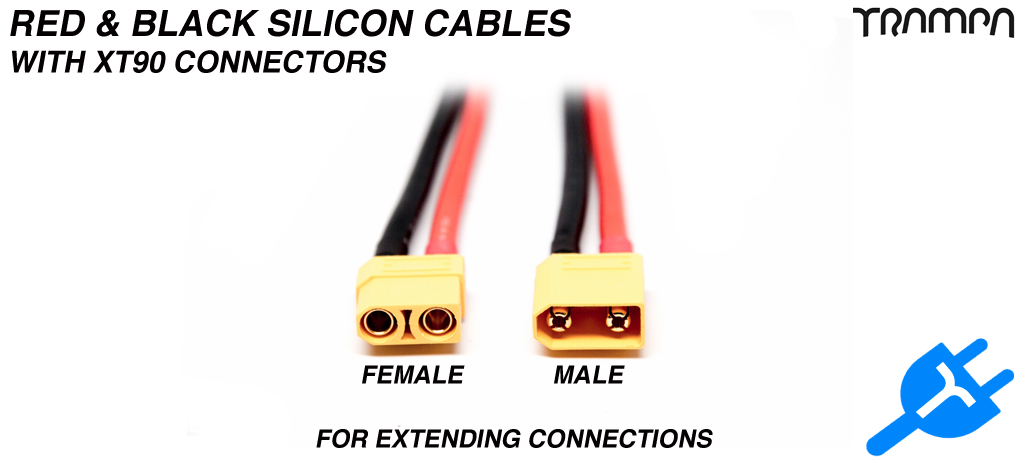 RED & BLACK Silicon Cables with XT90 Connectors