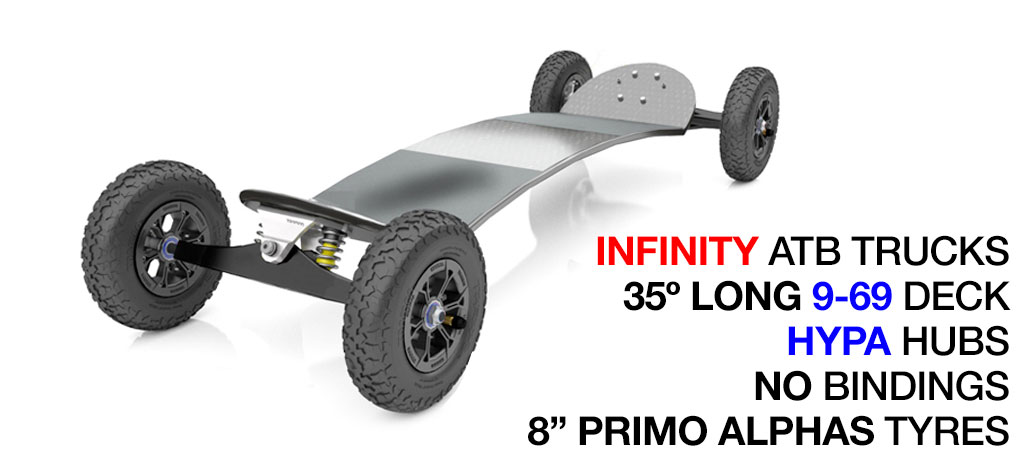 35º Long TRAMPA deck on INFINITY Trucks With HYPA Wheels & NO Bindings - 667 SILVER MOUNTAINBOARD