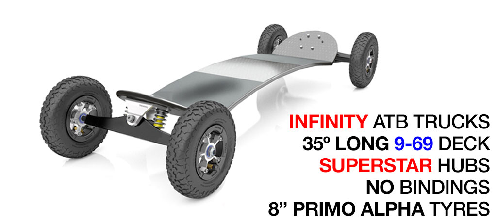 35º Long TRAMPA deck on INFINITY Trucks SUPERSTAR Wheels & NO Bindings - 663 SILVER MOUNTAINBOARD