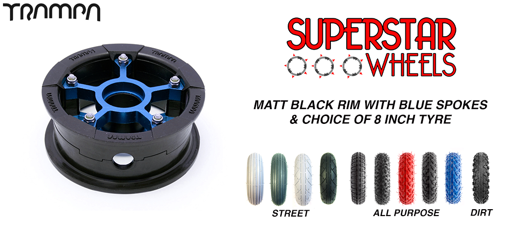 Superstar 8 inch wheel - Matt Black Superstar rim BLUE spoke CUSTOM Tyre 8 INCH WHEEL