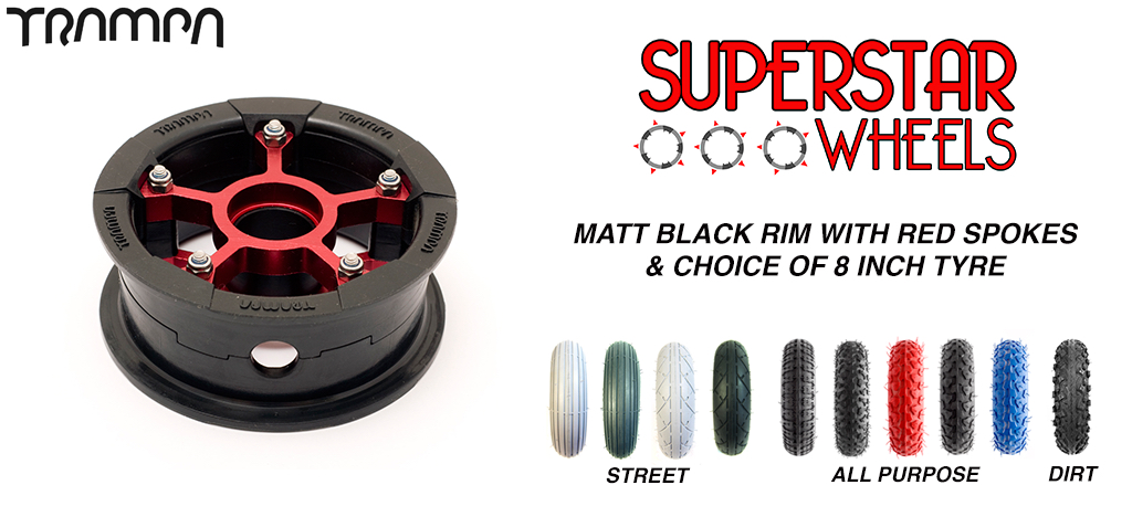 Superstar 8 inch wheel - Matt Black Superstar rim RED spoke CUSTOM Tyre 8 INCH WHEEL