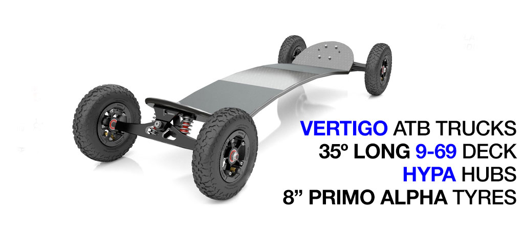 35º Long TRAMPA deck on VERTIGO Trucks SUPERSTAR Wheels & RATCHET Bindings - 684 BLACK No Bindings