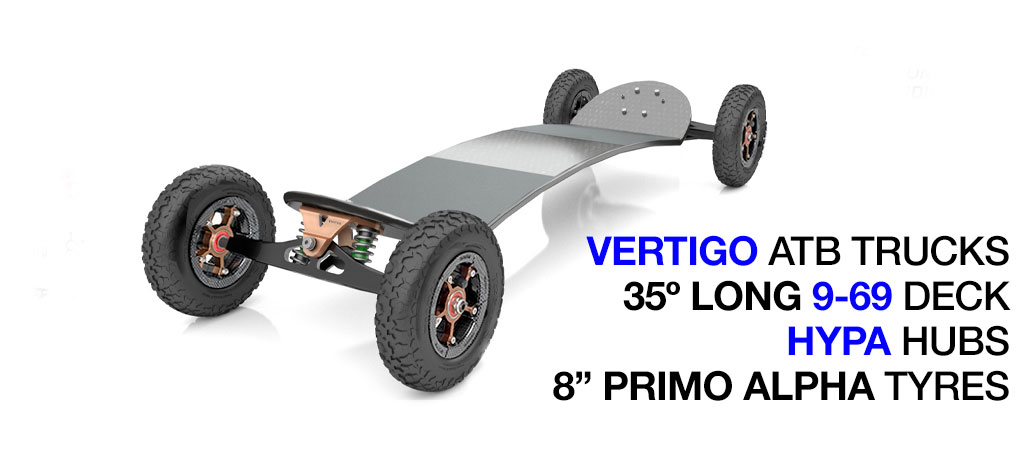 35º Long TRAMPA deck on VERTIGO Trucks SUPERSTAR Wheels & RATCHET Bindings - 684 BRONZE No Bindings