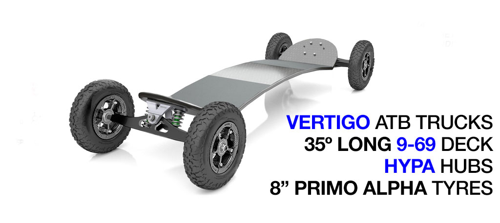 35º Long TRAMPA deck on VERTIGO Trucks SUPERSTAR Wheels & RATCHET Bindings - 684 GUNMETAL No Bindings