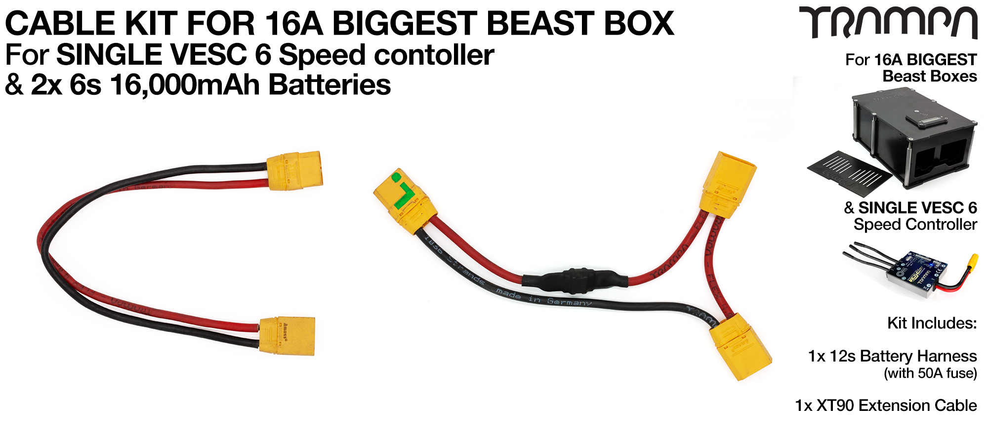 Complete 16A BIGGEST BEAST Box 12s1p Cable Kit with 50 Amp Fuse all soldered & heat sealed ready for plug & play use TRAMPA Stamped 1036 strand Silicon coated Cables!