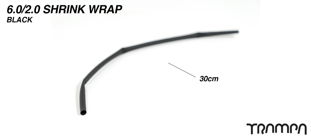 6mm to 2mm Heat Shrink Cable - BLACK 30cm Strip