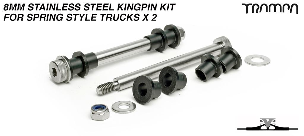 8mm Stainless Steel Kingpin re-fresh kit for Spring style Trucks x 2