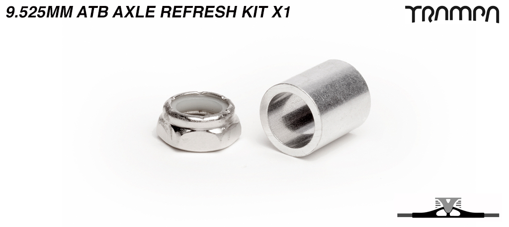 9.525mm ATB Axle re-fresh kit - 1x 3/8ths Stainless Steel Half nut with Nylock & 1x 9.525mm Wheel support spacer