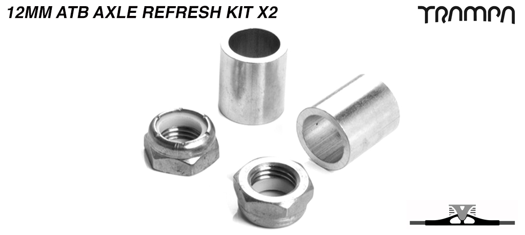 12mm ATB Axle re-fresh kit - 2x 7/16ths Stainless Steel Half nut with Nylock & 2x 12mm Wheel support spacer