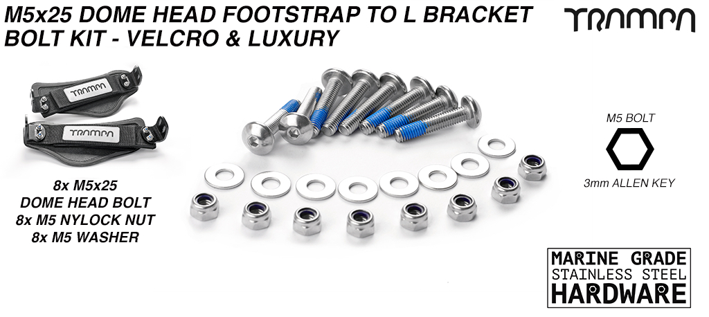 M5 x 25mm Marine Grade Stainless Steel Extra Wide Dome Head Binding Bolt kit - Connects Velcro Foot straps to L Brackets