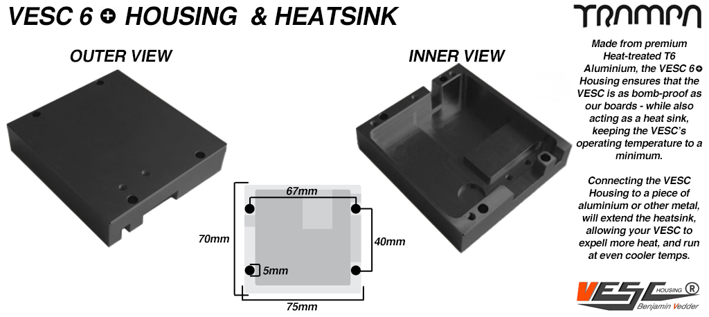 VESC 6 CNC Aluminum Heat Sink Silicone Sealed Housing