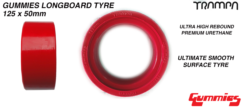 RED 5 Inch Gummies Longboard Tyres