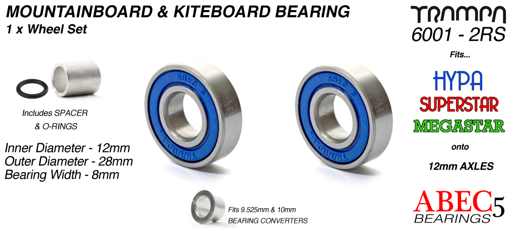 BLUE 6001-2RS ATB Bearings to fit 12mm Axles
