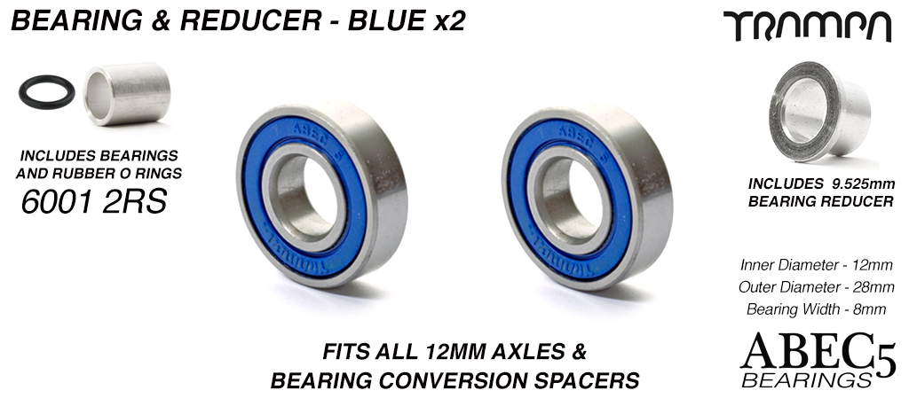 BLUE 6001-2RS ATB Bearings with Reducers fits 9.525mm Axles (+£7.50)