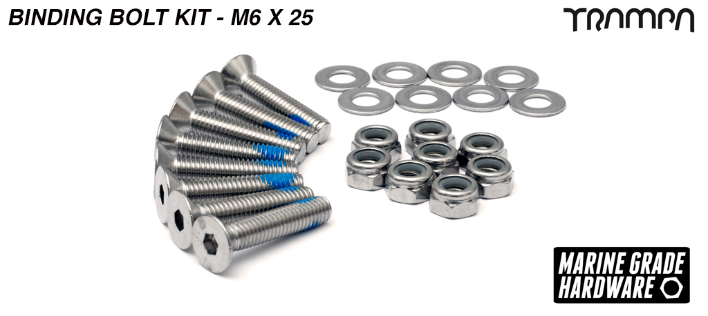 M6 x 25mm Marine Grade Stainless Steel Countersunk Binding to Deck Bolt Kit - 12-17ply Decks