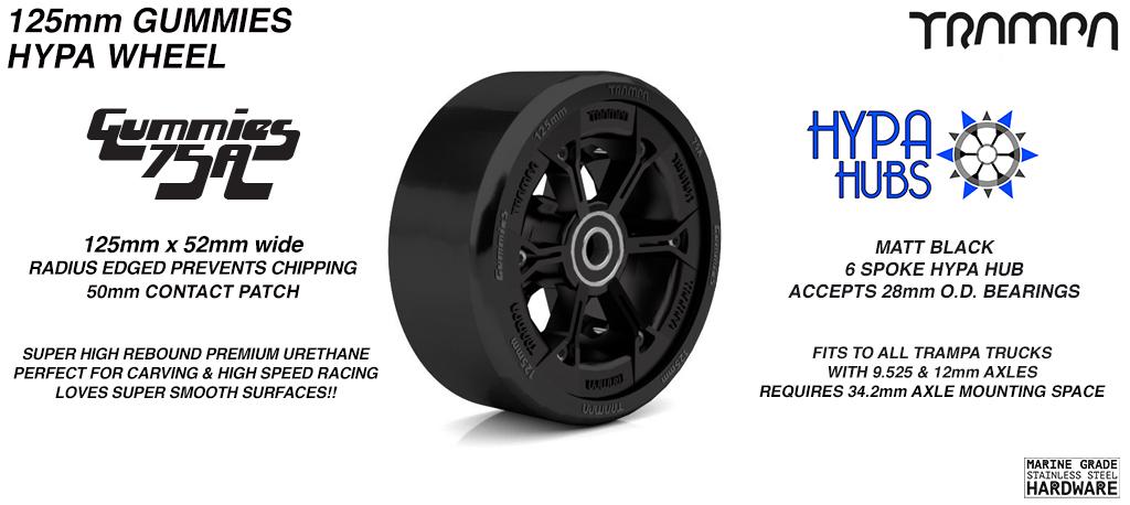 Matt BLACK HYPA hub with BLACK Gummies 125mm Longboard Wheel Tyre