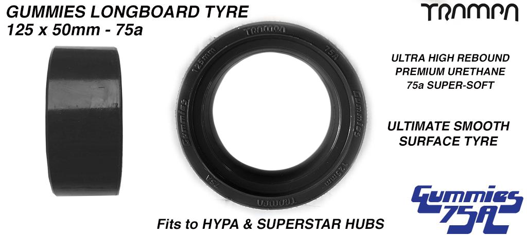 5 Inch BLACK Gummies Longboard Tyres