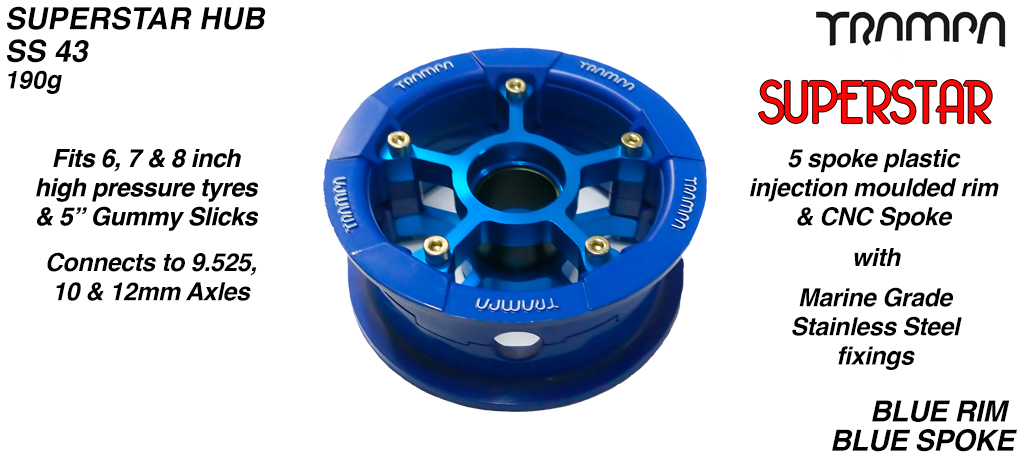 Superstar Hub - Blue with white logo Rim with Blue anodised spokes