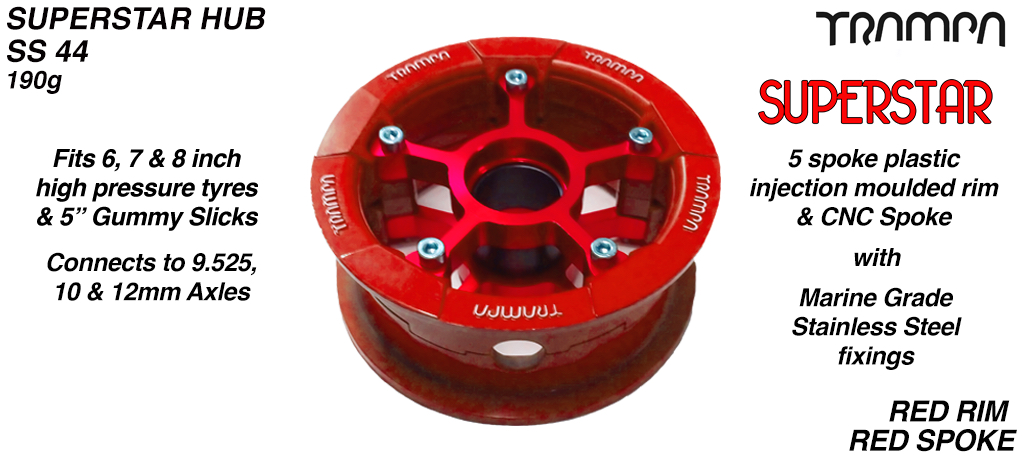 Superstar Hub - Red with white logo Rim with Red anodised spokes
