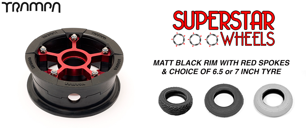 Superstar 7 Inch Wheels - Matt Black Superstar rim RED spoke & Custom 7 Inch Tyre