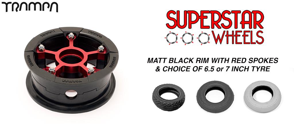 Superstar 7 Inch Wheels - Matt Black Superstar rim RED spoke & Custom 7 Inch Tyre