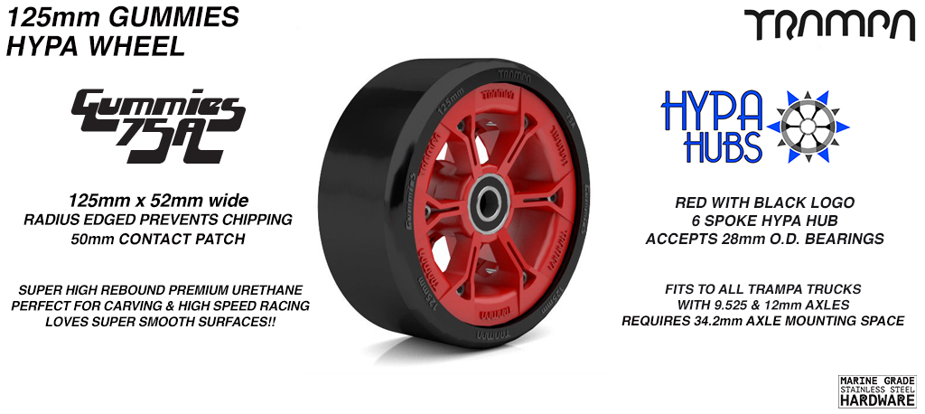 RED GLOSS with BLACK Logo HYPA hub with BLACK Gummies 125mm Longboard Wheel Tyre