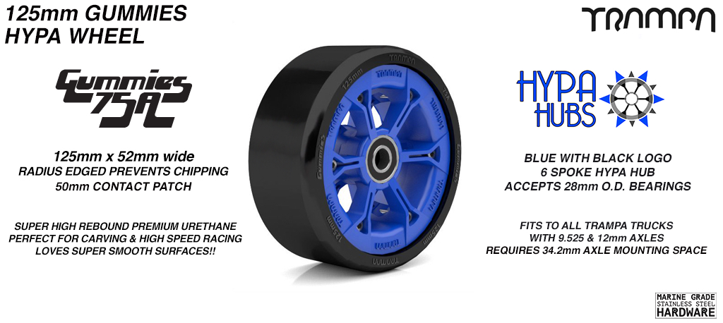 BLUE GLOSS with BLACK Logo HYPA hub with BLACK Gummies 125mm Longboard Wheel Tyre