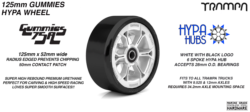 WHITE GLOSS with BLACK Logo HYPA hub with BLACK Gummies 125mm Longboard Wheel Tyre