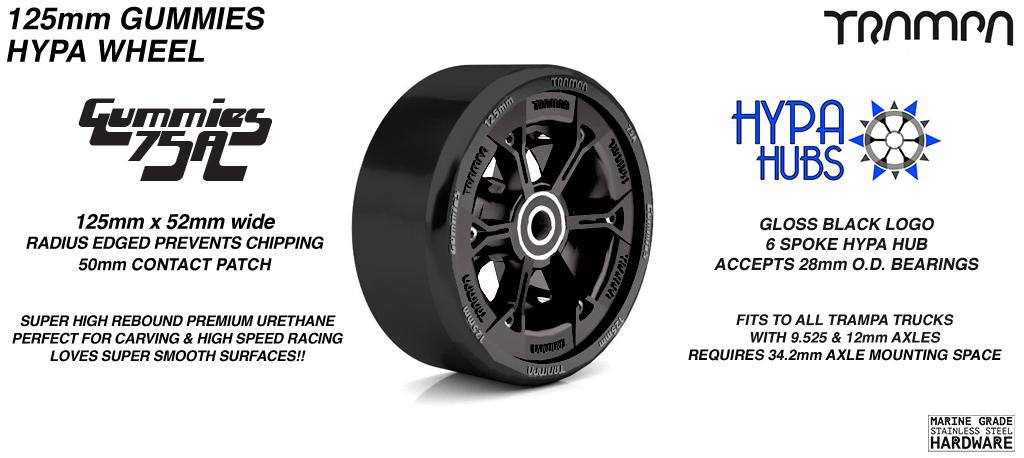 GLOSS Black HYPA hub with BLACK Gummies 125mm Longboard Wheel Tyre