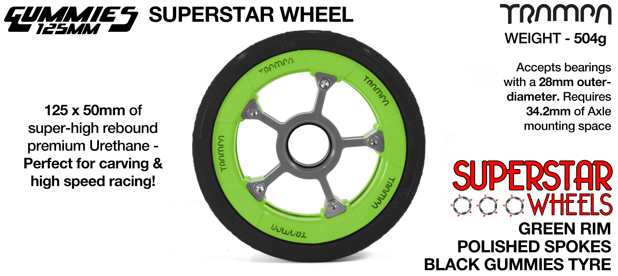 Superstar 125mm Longboard Wheels -Matt BLACK SUPERSTAR Rim with Silver Anodised Spokes & TRAMPA BLACK Gummies 125mm Longboard Wheel Tyre