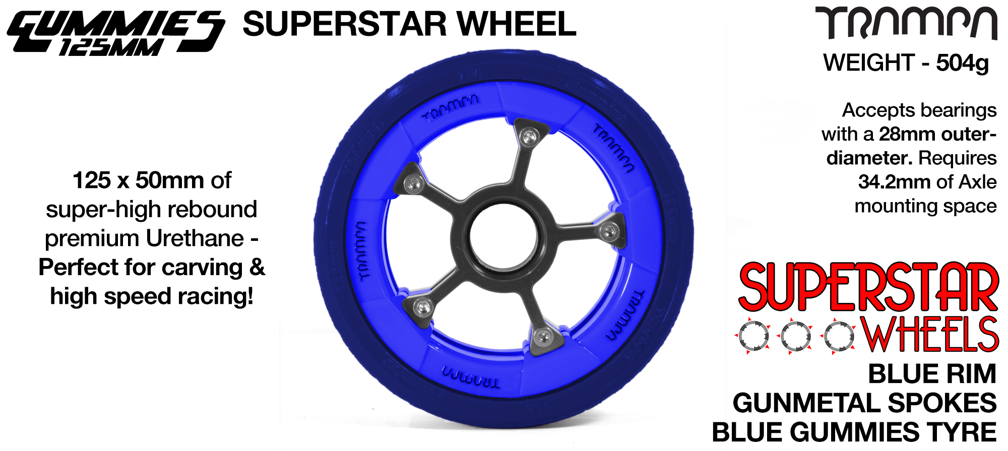 Superstar 125mm Longboard Wheels - Gloss BLACK Superstar Rim BLACK Spokes & BLACK Gummies  Superstar Rim with Black Spokes & BLACK Gummies 125mm Longboard Wheel Tyre