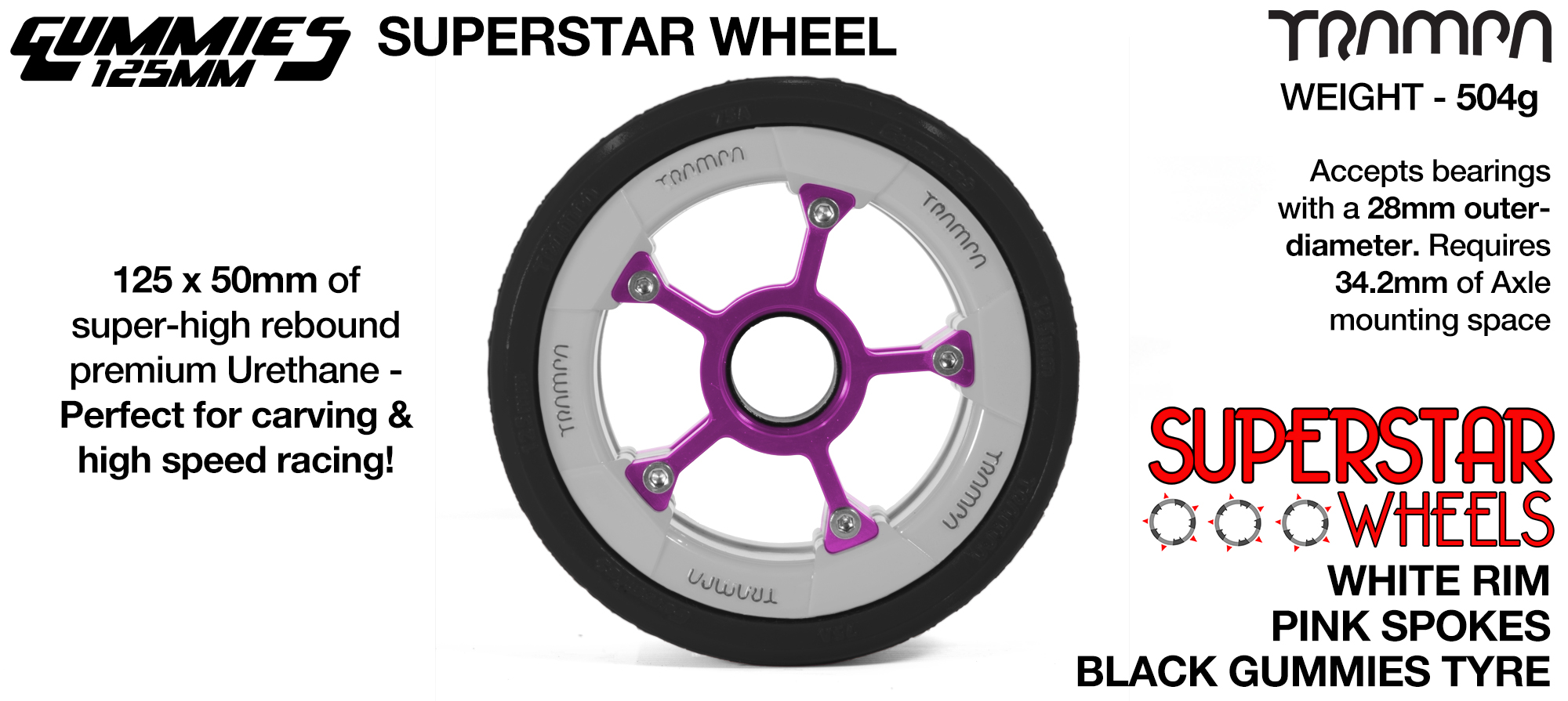 Superstar 125mm Longboard Wheels - GLOSS WHITE with Black logo Superstar Rim with Black Spokes & BLACK Gummies 125mm Longboard Wheel Tyre