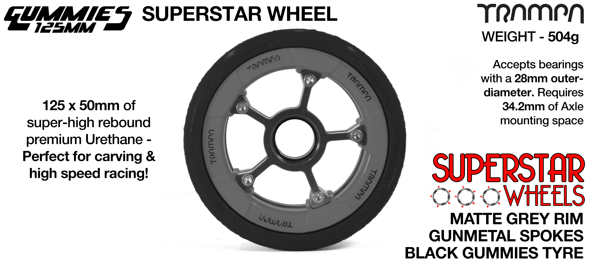 GLOSS BLUE with Black logo Superstar Rim with Black Spokes & BLACK Gummies 125mm Longboard Wheel Tyre