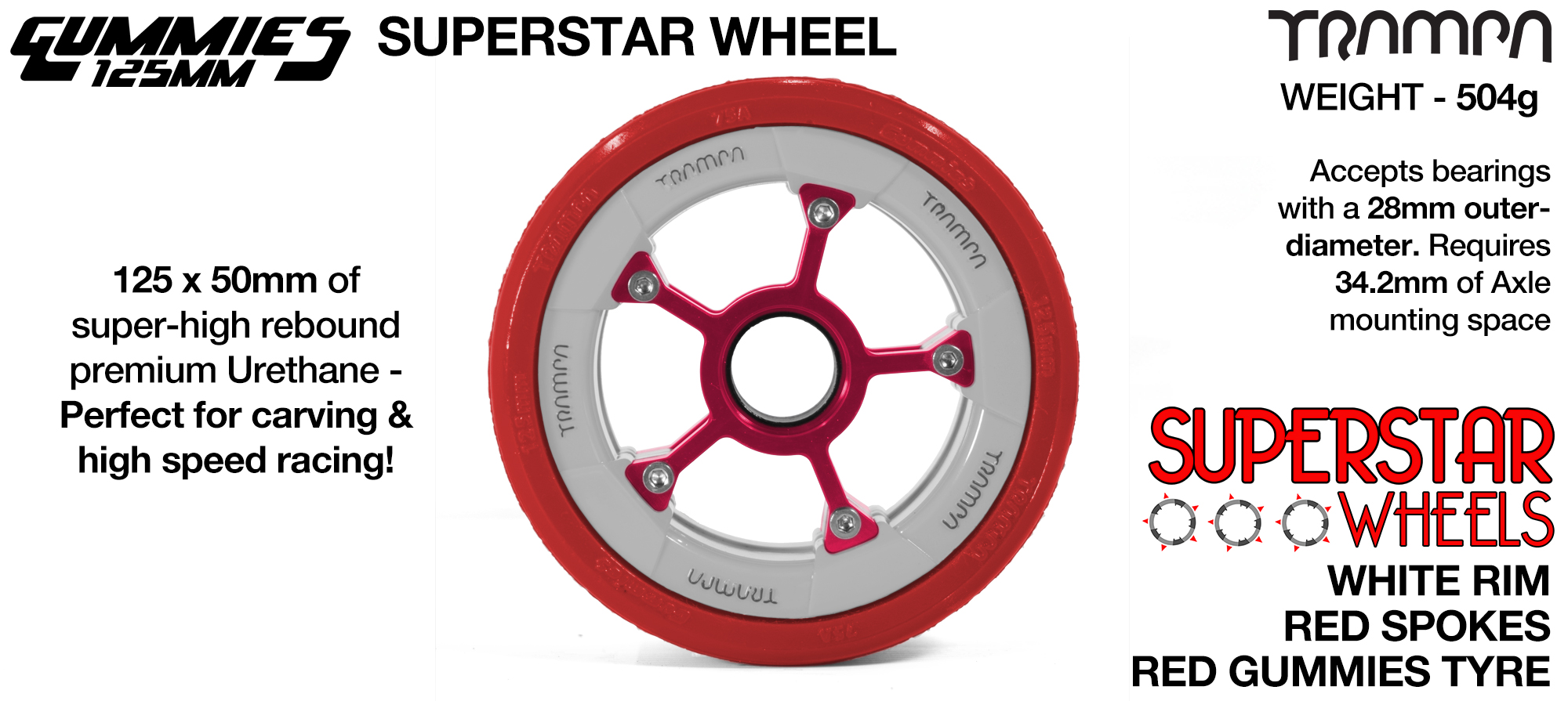 Superstar 125mm Longboard Wheels - CARBON print Superstar Rim with SIlver Spokes & BLACK Gummies 125mm Longboard Wheel Tyre