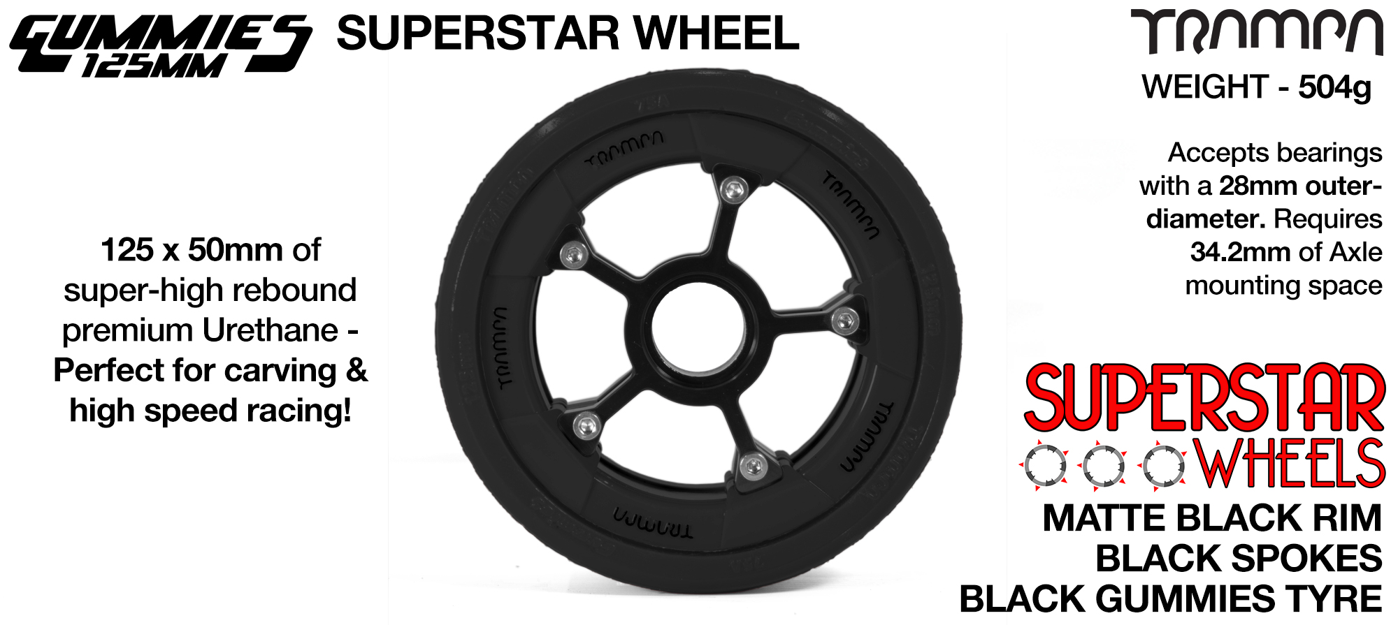 Superstar 125mm Longboard Wheels - Matt BLACK SUPERSTAR Rim with BLACK Anodised Spokes & TTRAMPA BLACK Gummies 125mm Longboard Wheel Tyre