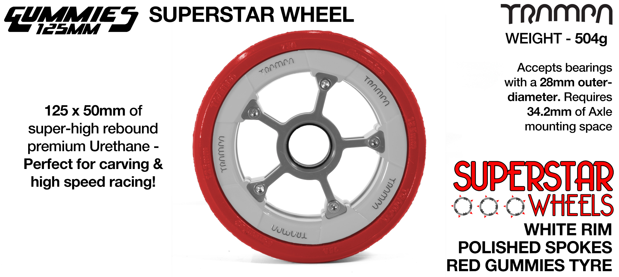 Superstar 125mm Longboard Wheels - CARBON print Superstar Rim with BLACK Spokes & BLACK Gummies 125mm Longboard Wheel Tyre