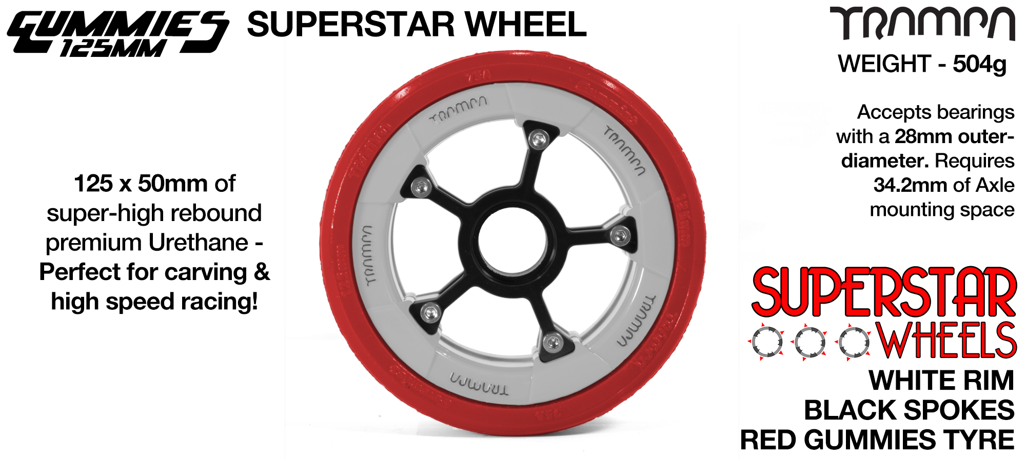 Superstar 125mm Longboard Wheels - Gloss BLACK Superstar Rim with Silver Spokes & BLACK Gummies 125mm Longboard Wheel Tyre